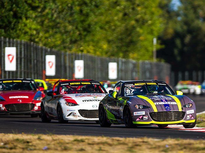 Selin Rollan leads Sunday's BatteryTender Global Mazda MX-5 Cup field at Portland Int'l Raceway.