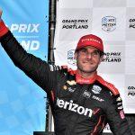 Will Power celebrates after winning Sunday at Portland Int'l Raceway. (Al Steinberg Photo)