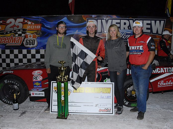 Ashton Tucker earned more than $21,000 for winning the McLaughlin Roof Trusses 250 at Speedway 660 on Sunday night. (Michelle Roy Photo)