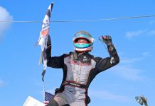 Kyle Reinhardt celebrates after winning Monday's 410 sprint car feature at Port Royal Speedway. (Dan Demarco Photo)