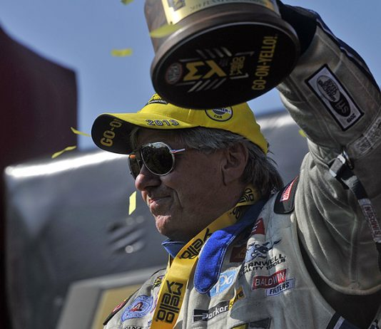 John Force earned his fifth U.S. Nationals victory Monday at Lucas Oil Raceway. (Shawn Crose Photo)