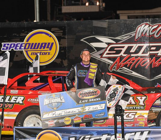 His convincing win in Monday's Deery Brothers Summer Series main event made Ricky Thornton Jr. the first champion crowned at the 37th annual IMCA Speedway Motors Super Nationals fueled by Casey's at Boone Speedway. (Tom Macht Photo)