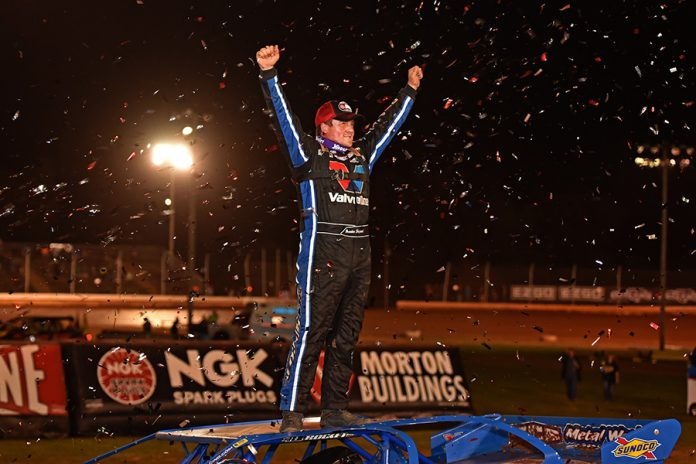 Brandon Sheppard celebrates after winning Friday's World of Outlaws Morton Buildings Late Model Series feature at Sharon Speedway. (Joe Secka/JMS Pro Photo)