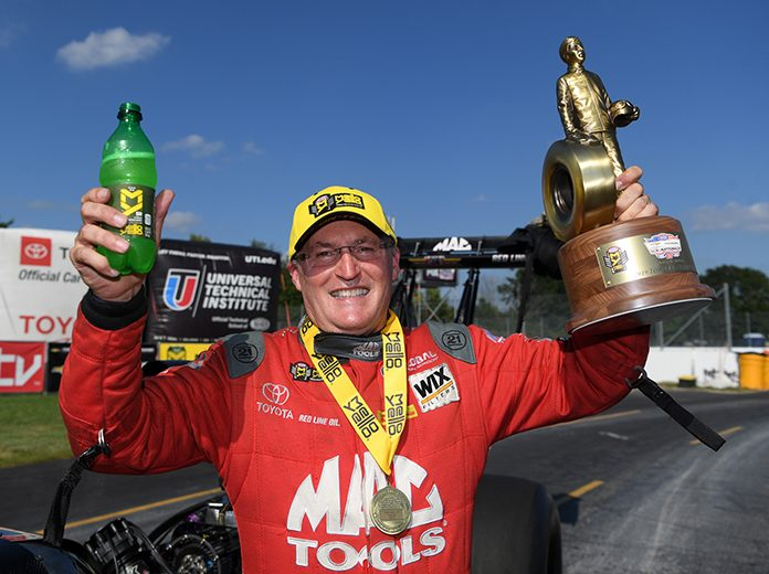 Doug Kalitta took home the U.S. Nationals Wally for the first time in his career on Monday at Lucas Oil Raceway. (NHRA Photo)