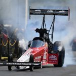 Doug Kalitta performs a burnout Monday during the U.S. Nationals. (NHRA Photo)
