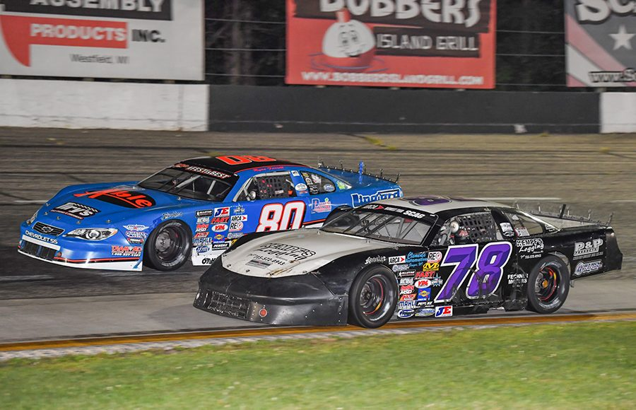 Skylar Holzhausen (78) battles Ryan Farrell during Saturday's ARCA Midwest Tour event at Dells Raceway Park. (Doug Hornickel Photo)