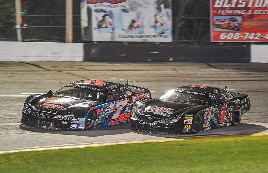 John DeAngelis Jr. (7) makes contact with Luke Fenhaus as they battle for position during Saturday's ARCA Midwest Tour event at Dells Raceway Park. (Doug Hornickel Photo)
