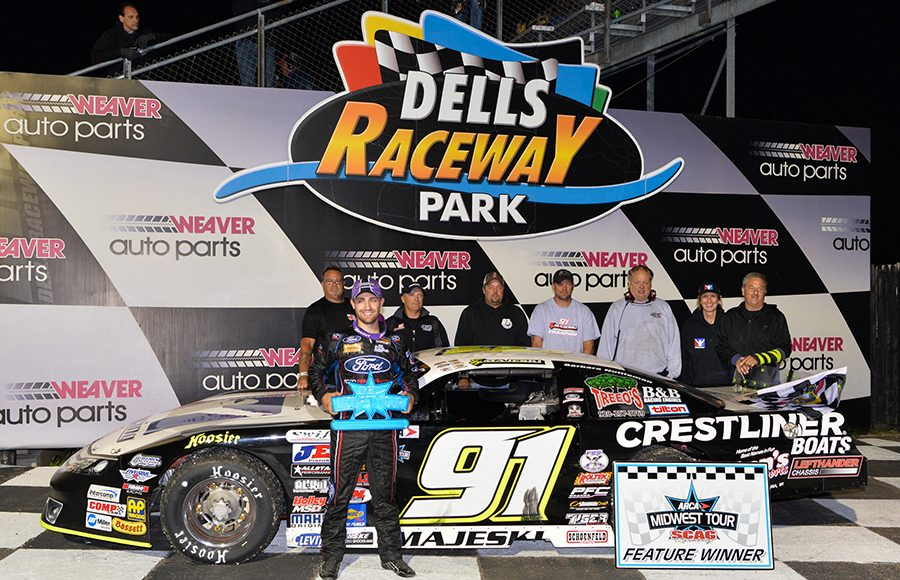 Ty Majeski poses in victory lane after winning Saturday's ARCA Midwest Tour race at Dells Raceway Park. (Doug Hornickel Photo)