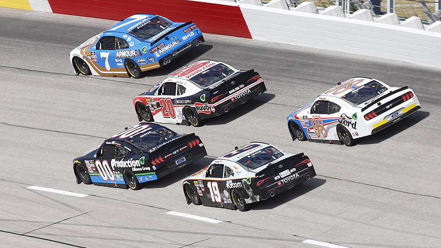 Drivers battle for position during Saturday's NASCAR Xfinity Series race at Darlington Raceway. (HHP/Andrew Coppley Photo)