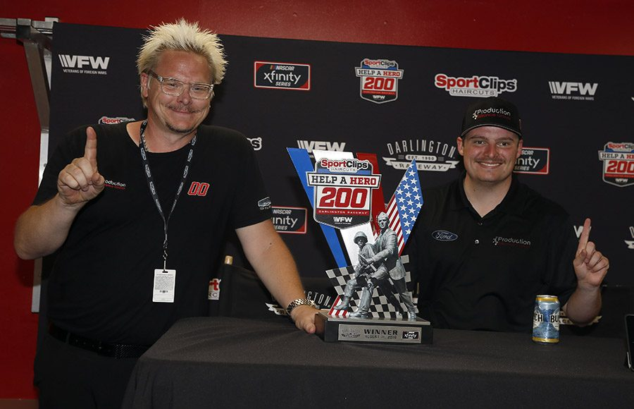 Cole Custer was declared the winner of Saturday's NASCAR Xfinity Series race after Denny Hamlin was disqualified in post-race inspection. (HHP/Andrew Coppley Photo)