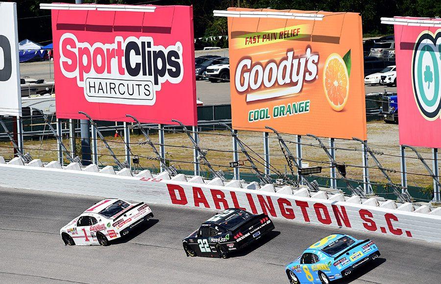 Michael Annett (1) leads Austin Cindric (22) and Dale Earnhardt Jr. during Saturday's NASCAR Xfinity Series race at Darlington Raceway. (NASCAR Photo)