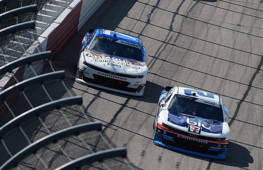 Tyler Reddick (2) battles Justin Allgaier during Saturday's NASCAR Xfinity Series race at Darlington Raceway. (NASCAR Photo)