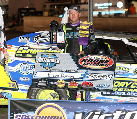 Ethan Dotson won Wednesday's first Modified qualifying feature at the IMCA Speedway Motors Super Nationals fueled by Casey's. (Carl Larson Photo)