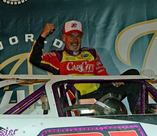 Sixty-one-year-old Billy Moyer in victory lane at Eldora Speedway. (Jim DenHamer photo)