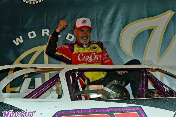 Sixty-one-year-old Billy Moyer in victory lane at Eldora Speedway. (Jim DenHamer photo)