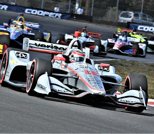 Will Power (12) leads the field during Sunday's Grand Prix of Portland at Portland Int'l Raceway. (Al Steinberg Photo)