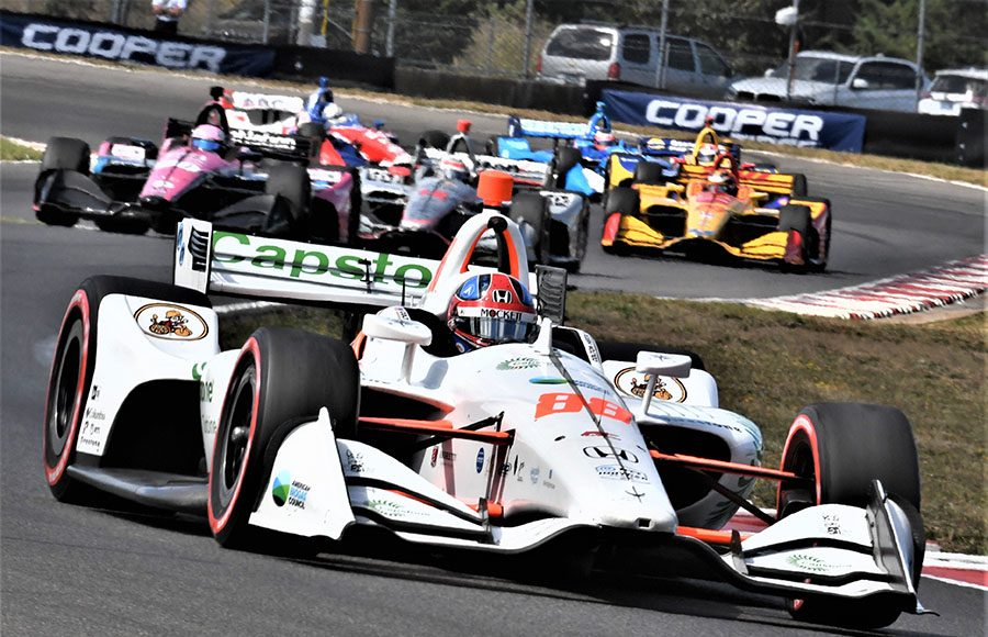 Colton Herta (88) started from the pole and led the field early during Sunday's Grand Prix of Portland at Portland Int'l Raceway. (Al Steinberg Photo)