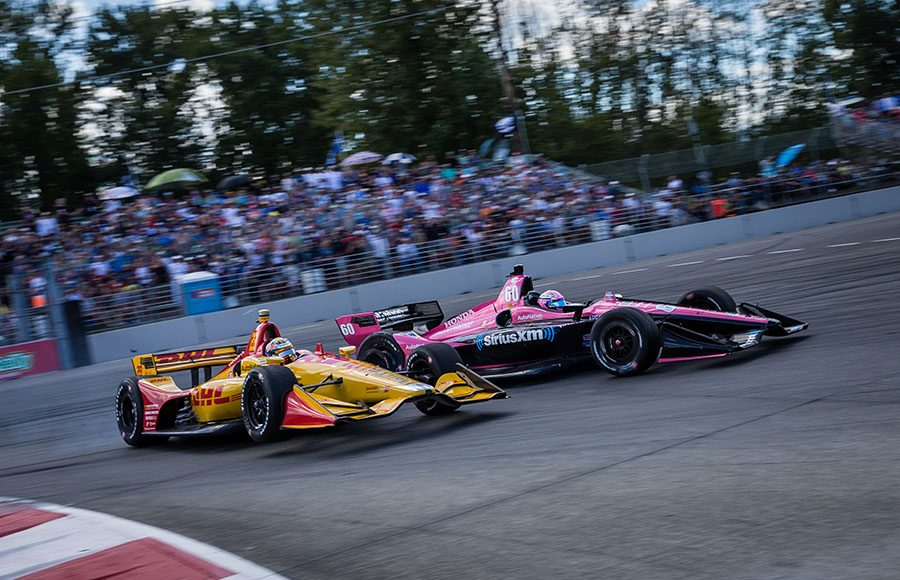 Ryan Hunter-Reay (28) makes contact with Jack Harvey during Sunday's Grand Prix of Portland at Portland Int'l Raceway. (IndyCar Photo)