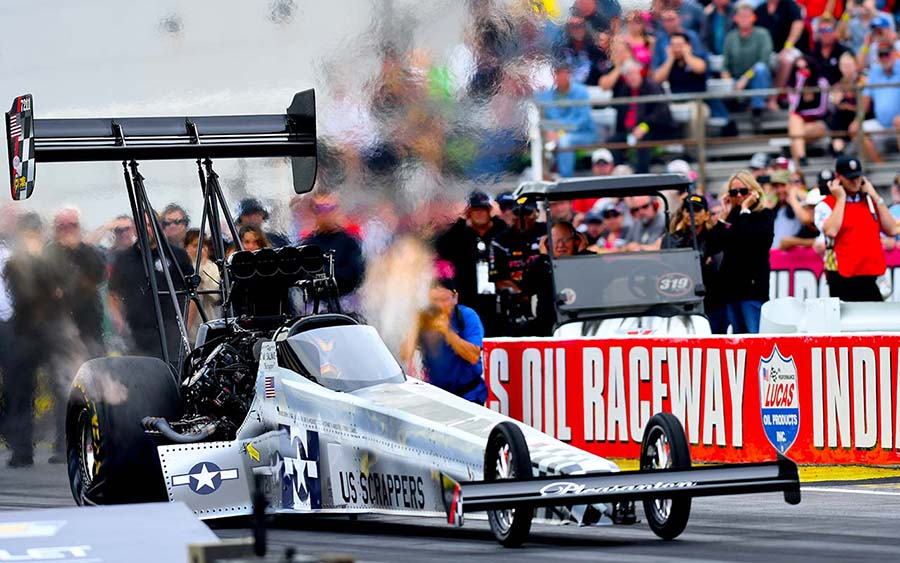 Mike Salinas during the Chevrolet Performance U.S. Nationals at Lucas Oil Raceway. (Kent Steele Photo)