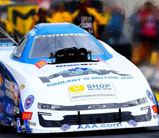 John Force during the Chevrolet Performance U.S. Nationals at Lucas Oil Raceway. (Kent Steele Photo)
