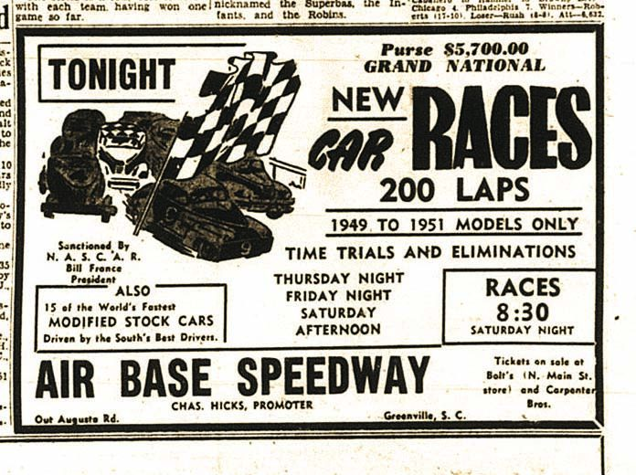 An ad for a Grand National Stock Car event at Air Base Speedway in Greenville, S.C.