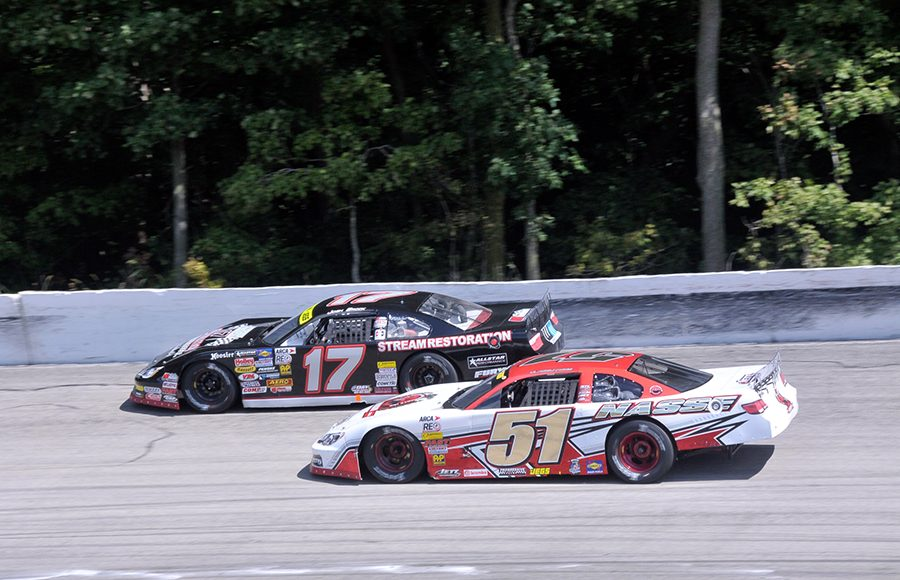 Stephen Nasse (51) battles Josh Brock during Monday's ARCA/CRA Super Series event at Winchester Speedway. (Randy Crist Photo)