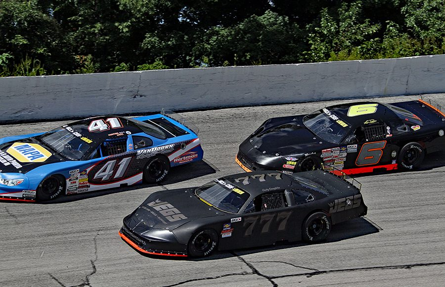 Hunter Jack (41), Cody Coughlin (777) and Logan Runyon battle for position during Monday's ARCA/CRA Super Series event at Winchester Speedway. (Jim Denhamer Photo)
