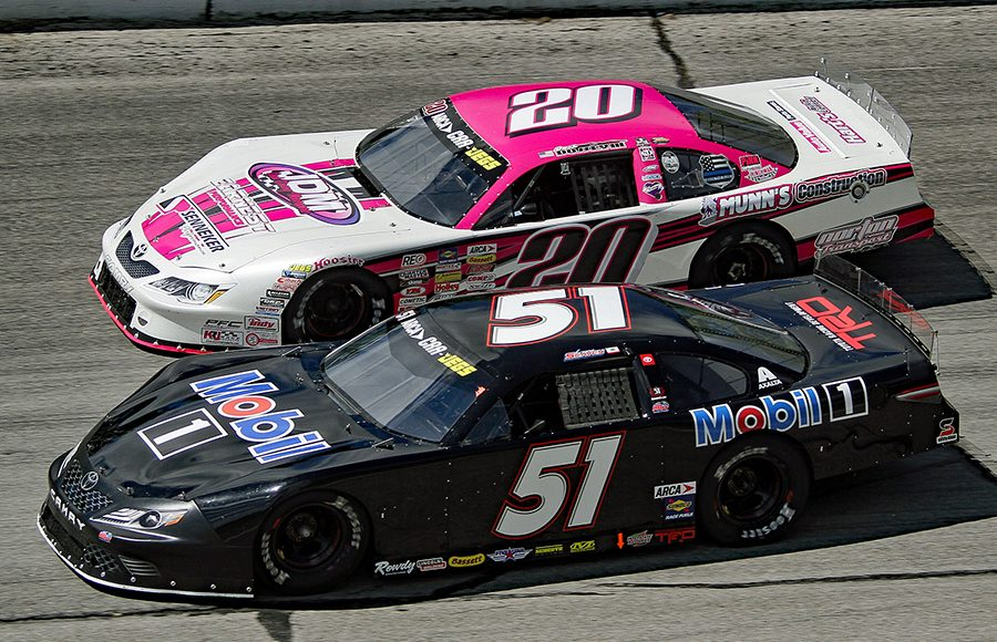 Logan Seavey (51) battles Jack Dossey III during Monday's ARCA/CRA Super Series event at Winchester Speedway. (Jim Denhamer Photo)