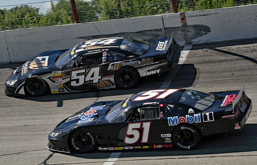 Logan Seavey (51) races to the inside of Jeff Fultz during Monday's ARCA/CRA Super Series event at Winchester Speedway. (Jim Denhamer Photo)