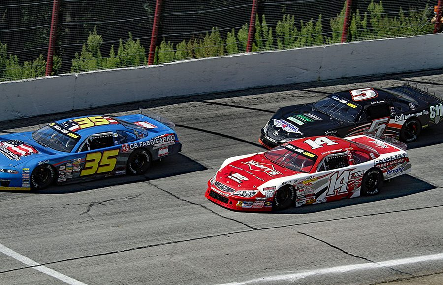 Greg Van Alst (35), Carson Hocevar (14) and Dalton Armstrong race for position during Monday's ARCA/CRA Super Series event at Winchester Speedway. (Jim Denhamer Photo)