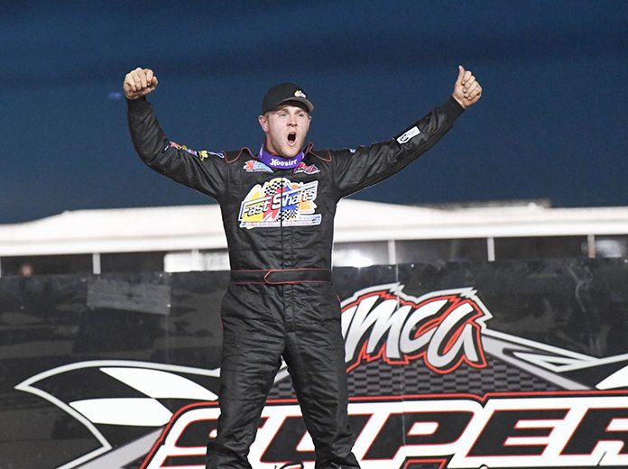 Joel Rust topped Fast Shafts All-Star Invitational, leading all 30 laps of the Modified feature during the Friday night program at the IMCA Speedway Motors Super Nationals fueled by Casey's. (Tom Macht Photo)