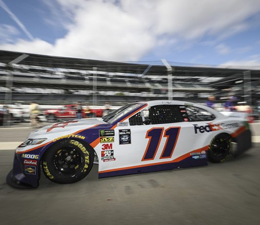 Denny Hamlin will have to move to a backup car after a crash in practice Saturday at Indianapolis Motor Speedway. (IMS Photo)