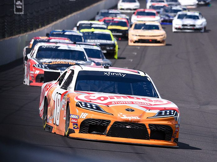 Kyle Busch raced to victory in Saturday's Indiana 250 at Indianapolis Motor Speedway. (IMS Photo)