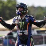 Garrett Gerloff celebrates after winning Saturday's MotoAmerica Superbike race at New Jersey Motorsports Park. (Dennis Bicksler Photo)