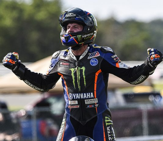 Garrett Gerloff celebrates after winning Saturday's MotoAmerica Superbike race at New Jersey Motorsports Park. (Dennis Bicksler Photo)