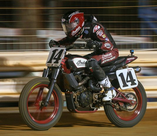 Briar Bauman raced to victory in American Flat Track competition Saturday at Williams Grove Speedway. (Scott Hunter/AFT Photo)