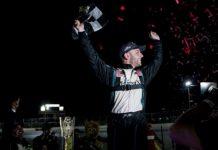 Justin Bonsignore celebrates Saturday night at Riverhead Raceway. (NASCAR photo)