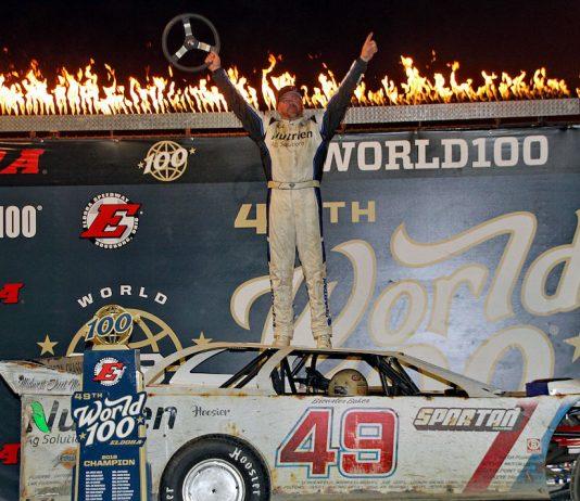 Jonathan Davenport earned his third World 100 victory Saturday at Eldora Speedway. (Jim DenHamer photo)