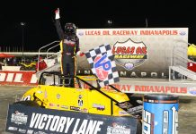 Kody Swanson in victory lane at Lucas Oil Raceway. (Todd Ridgeway photo)