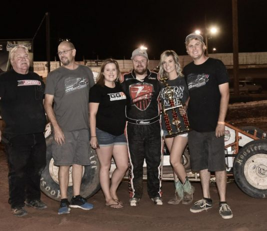 R.J. Johnson in victory lane. (Ben Thrasher photo)