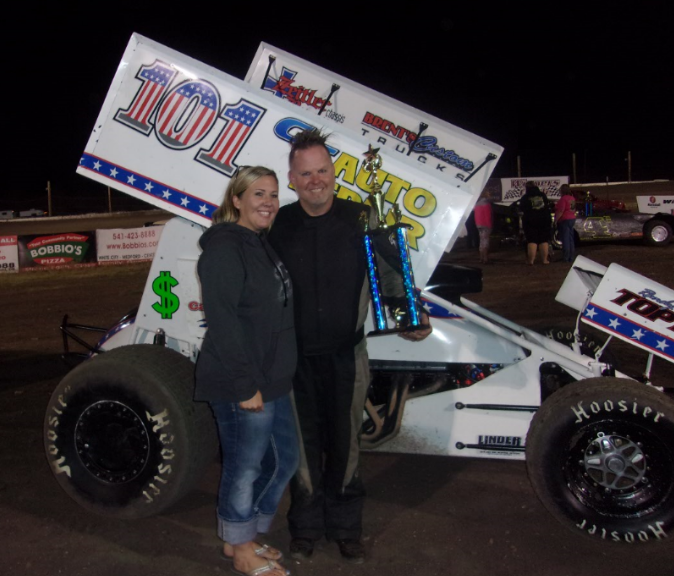 Charlie Thompson in victory lane at Southern Oregon Speedway.