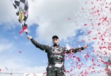 Jason Hathaway celebrates a victory Sunday at Autodrome Saint-Eustache. (NASCAR Photo)