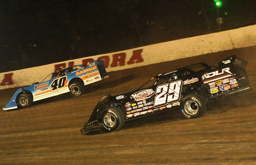 Darrell Lanigan (29) chases Kyle Bronson during Friday's World 100 preliminary event at Eldora Speedway. (Julia Johnson Photo)