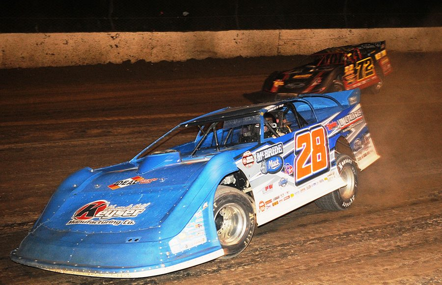 Dennis Erb Jr. (28) leads Michael Norris during Friday's World 100 preliminary event at Eldora Speedway. (Julia Johnson Photo)