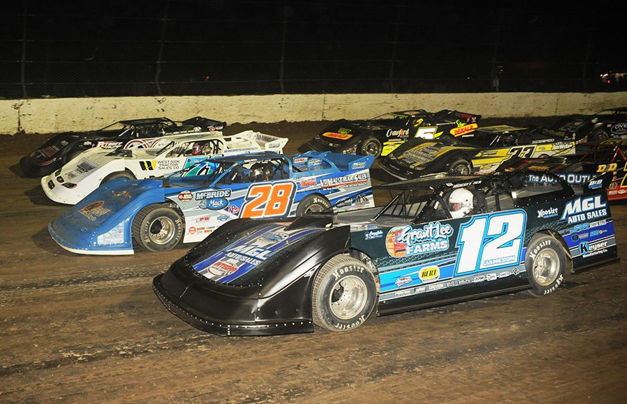 The field for one of the two World 100 preliminary features prepares to go racing Friday at Eldora Speedway. (Julia Johnson Photo)