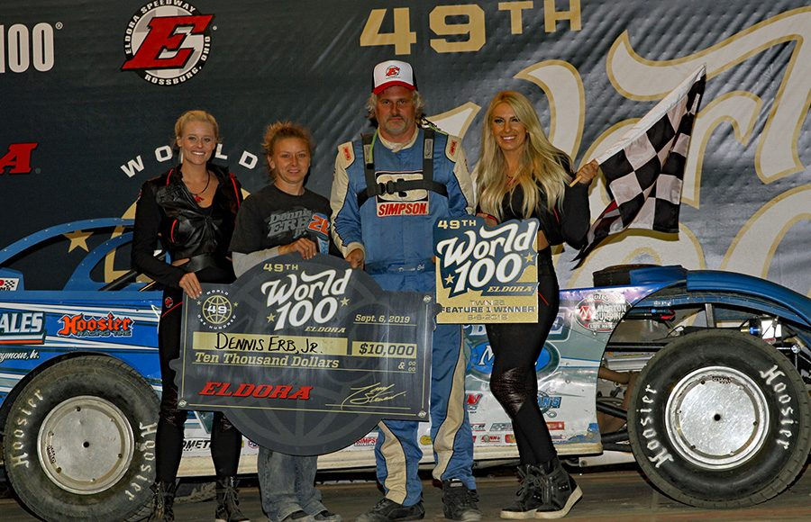 Dennis Erb Jr. poses in victory lane after winning one of two World 100 preliminary features Friday at Eldora Speedway. (Jim Denhamer Photo)