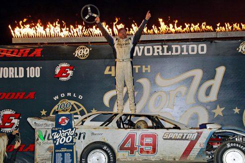Jonathan Davenport celebrates after winning the 49th edition of the World 100 at Eldora Speedway. (Jim Denhamer Photo)