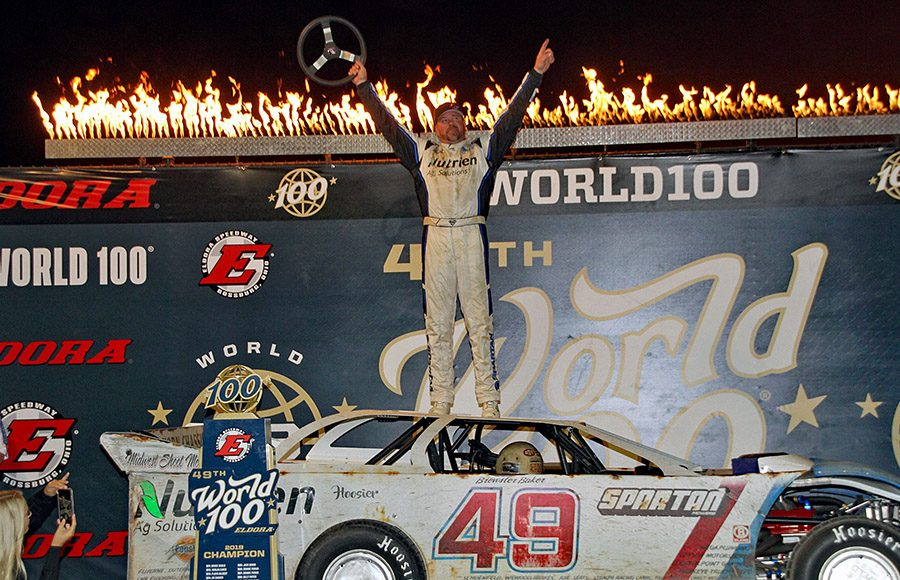 Jonathan Davenport celebrates after winning the 49th edition of the World 100 at Eldora Speedway. (Jim Denhamer Photo)