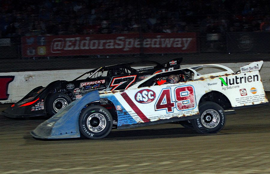 Jonathan Davenport (49) battles Ricky Weiss during Saturday's World 100 finale at Eldora Speedway. (Jim Denhamer Photo)