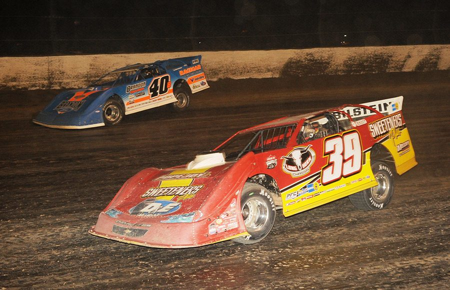 Tim McCreadie (39) battles Kyle Bronson during Saturday's World 100 finale at Eldora Speedway. (Julia Johnson Photo)